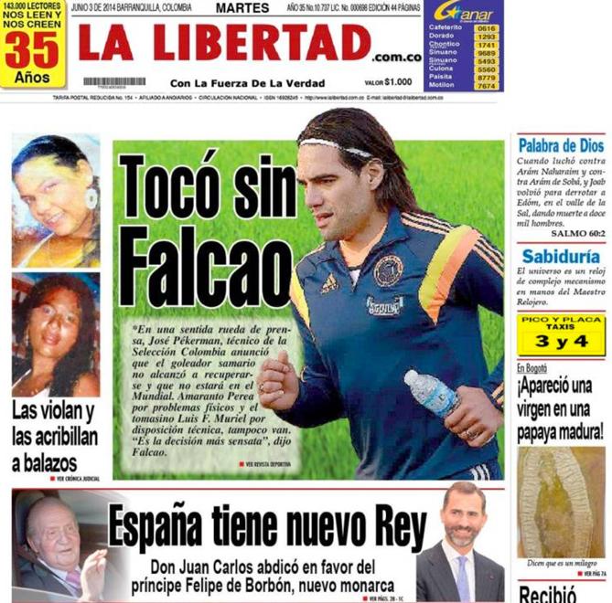 La Libertad rappelle sobrement que l'attaquant de Monaco a dû renoncer à sa participation au Mondial 2014.