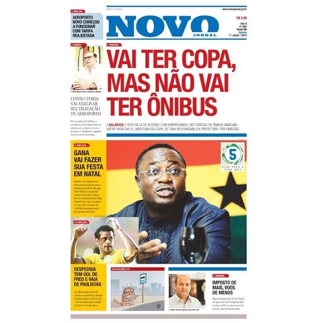 Le journal Novo Jornal, a publié, dans se titre, qui ira avoir de la coupe du monde, pourtant, non ira avoir de bus.