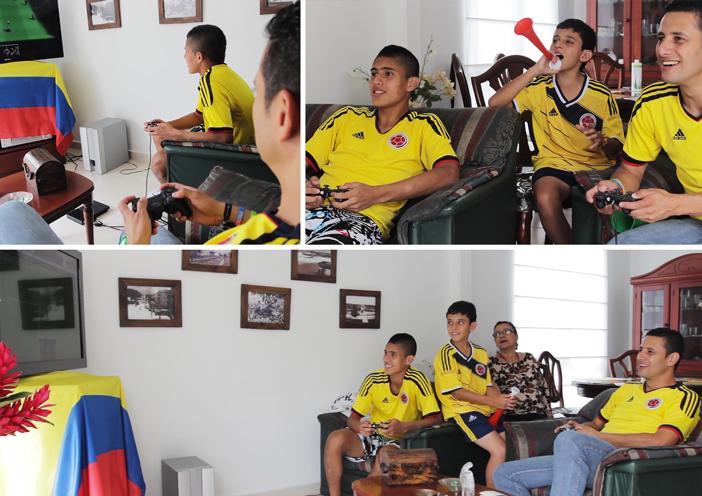 A la maison, les colombiens profitent également d'un moment sans match... pour jouer au foot à la console !