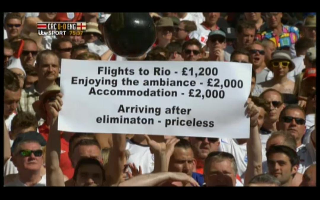 24 juin 2014, Estádio Mineirão, Belo Horizonte - Supporteurs anglais lors du match Costa-Rica vs Angleterre (capture d'écran)