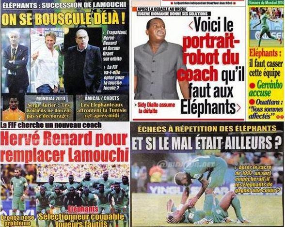Capture d'écran de quelques quotidiens ivoiriens depuis la défaite face à la Grèce