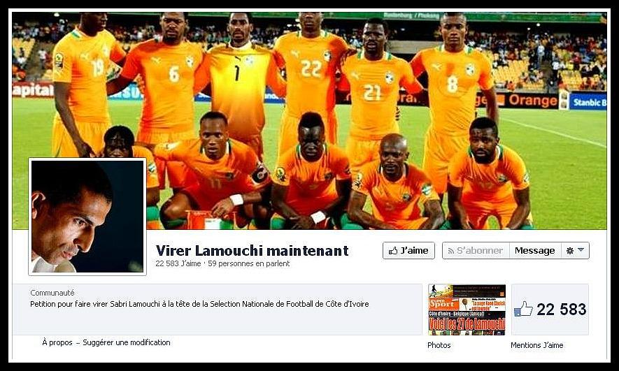 Sur les réseaux sociaux, les internautes se mobilisent pour obtenir le départ de l'entraîneur des Eléphants (Capture d'écran Facebook)