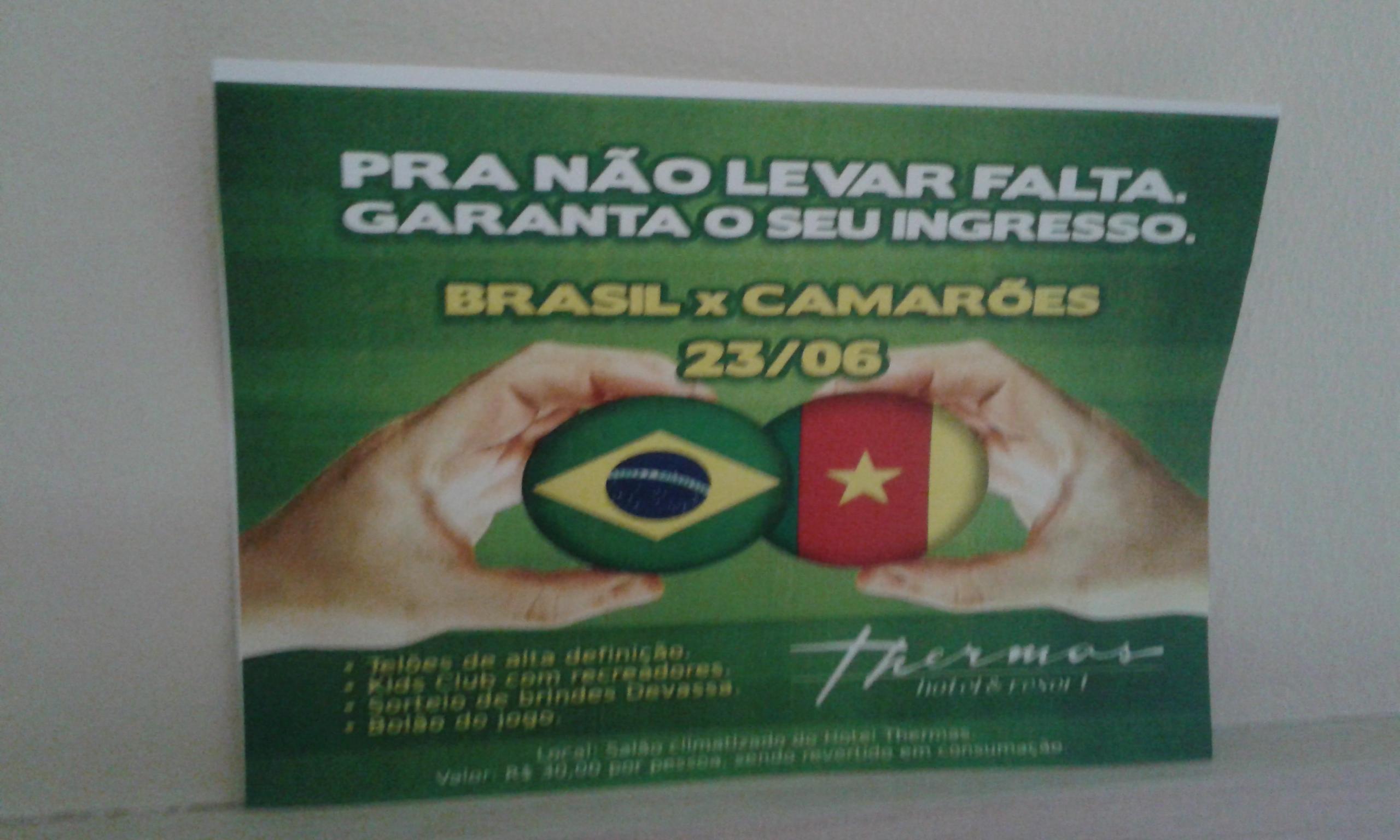 Le ticket nécessaire pour regarder le match de foot Brésil - Cameroun au hôtel Thermas Mossoró. (Crédit photo: Fabio Santana).