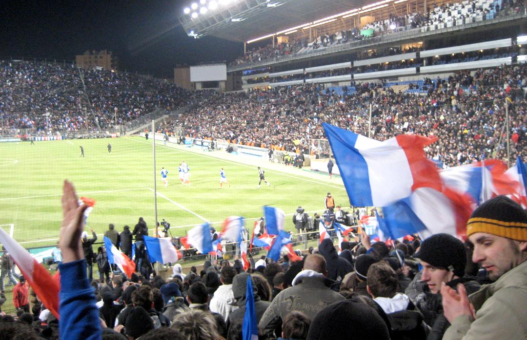 11 février 2009, Stade Vélodrome de Marseille - Entrée des Bleus sur la pelouse pour le match France vs Argentine © S.H
