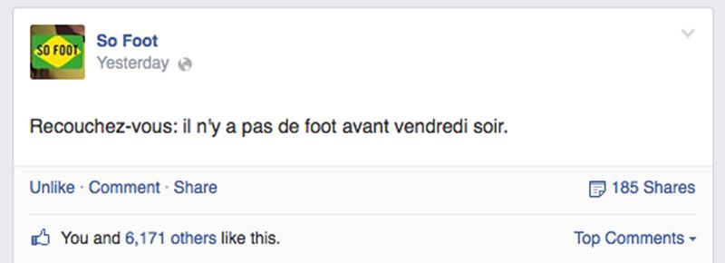 Statut de sofoot.com le mercredi 2 juillet (via Facebook)